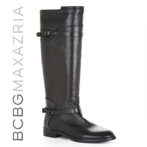 BCBGMAXAZRIA Black Leather Riding Boots